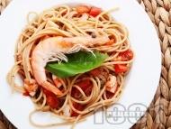 Пълнозърнести спагети със скариди
